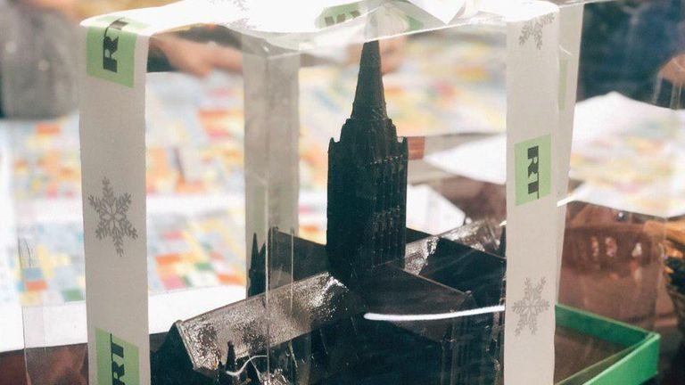 The chocolate cathedral was sent to a number of people as a festive gift