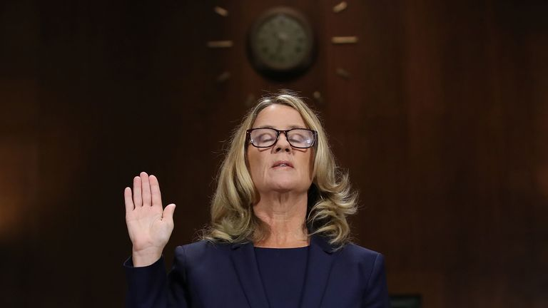 Christine Blasey Ford testifies before the Senate Judiciary Committee in the Dirksen Senate Office Building on Capitol Hill