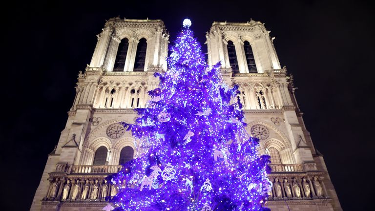 A giant Christmas tree stands in front of Notre Dame Cathedral during Christmas season in Paris, France, December 20, 2018