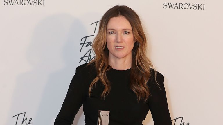 Givency's fashion designer Clare Waight Keller with the award for British designer of the year womenswear at the British Fashion Awards 2018