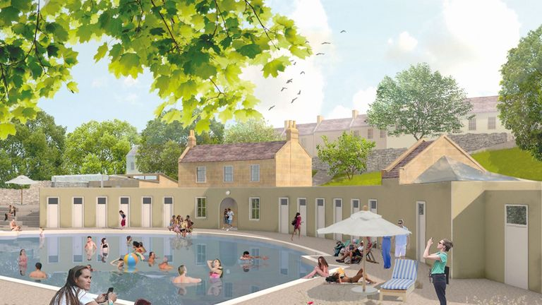 An artist impression of the restored baths