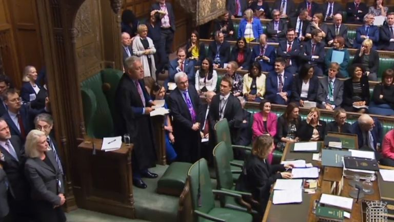 House of Commons Speaker John Bercow announces the result of a vote in which MPs approved a motion which finds ministers in contempt of parliament