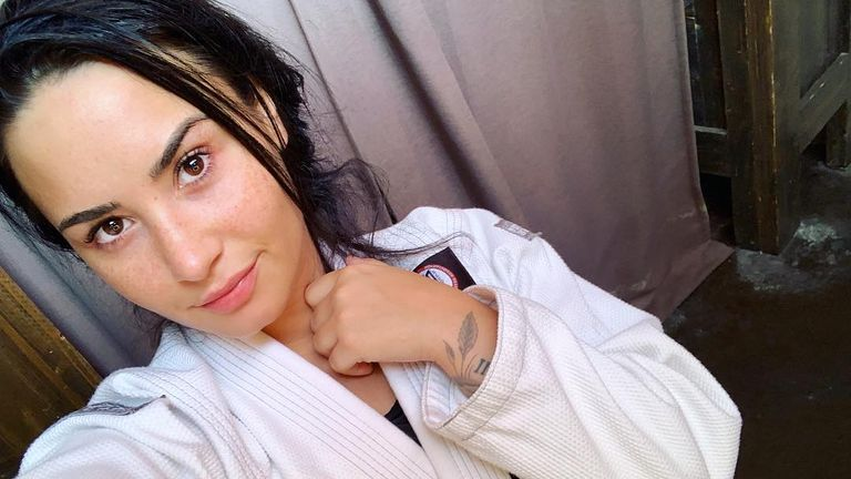 Demi Lovato shared a picture after a ju jitsu session at the beginning of December