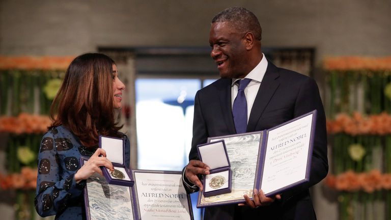 The Peace Prize laureates Iraqi Nadia Murad and Congolese doctor Denis Mukwege receive the Nobel Peace Prize for their efforts to end the use of sexual violence as a weapon of war and armed conflict at the Nobel Peace Prize Ceremony in Oslo Town Hall in Oslo, Norway December 10, 2018