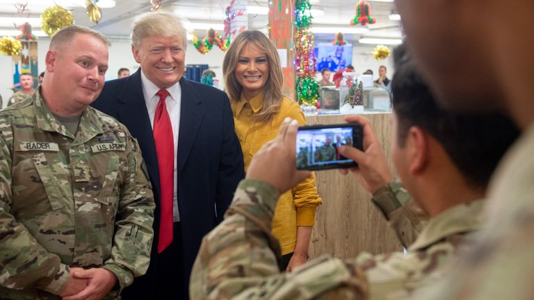 Trump and Melania took photos with US forces in Iraq