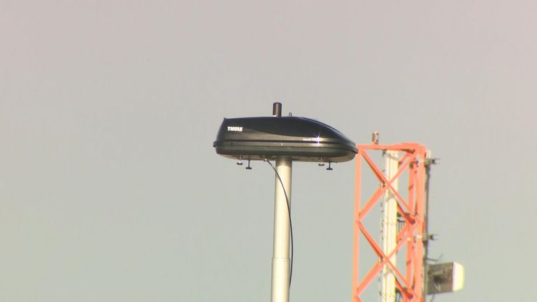 A device installed at Gatwick as part of efforts to tackle the use of drones in the area