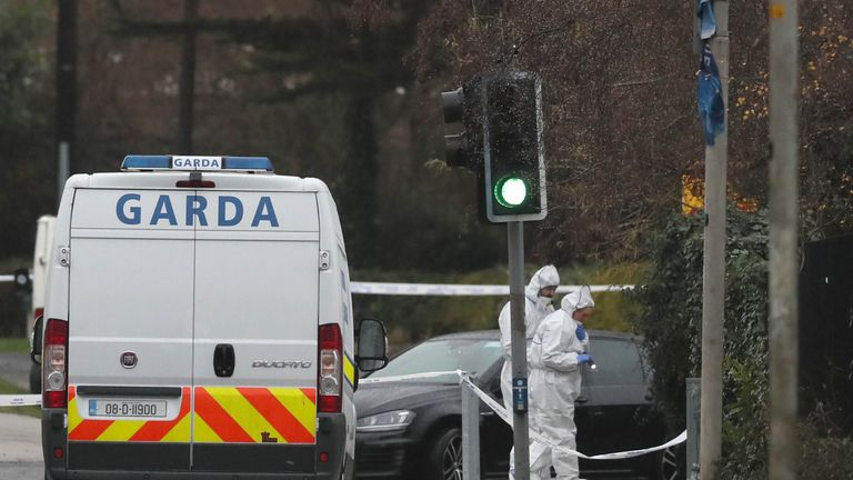 The scene in Blanchardstown , Dublin where a man in his mid 30s has been shot dead
