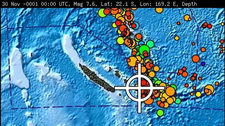 The Pacific Tsunami Warning Centre says tsunami waves have been spotted following the earthquake