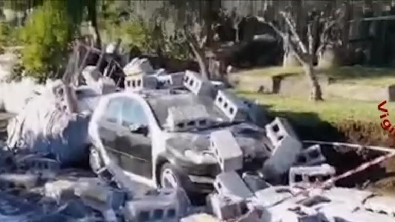 A quake in Italy has caused damage to cars and homes