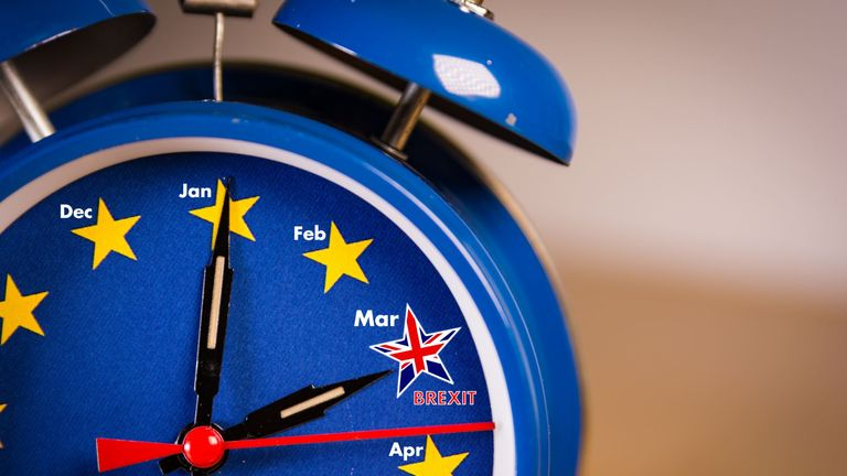 Retro alarm EU clock representing the countdown until Brexit. - Stock image