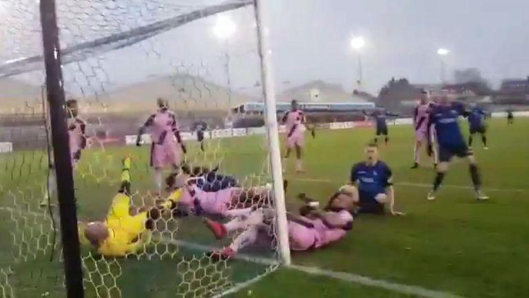 Epic Goal line scramble