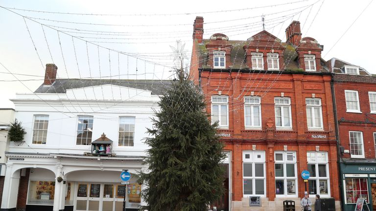 The Christmas tree in Faversham, Kent, as volunteers have decided to only light the top of the tree in a bid to stop it being damaged by anti-social behaviour