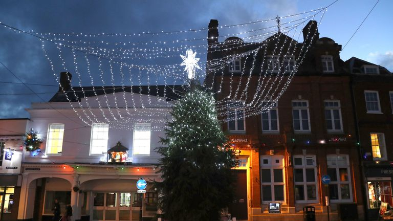 The Christmas tree in Faversham, Kent, as volunteers have decided to only light the top of the tree in a bid to stop the it being damaged by anti-social behaviour