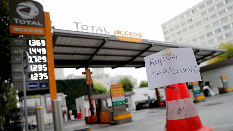 Total petrol stations have run dry in some areas while forecourts have also been targeted by protesters