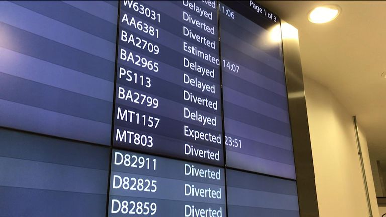 On Wednesday night flights were diverted across Europe