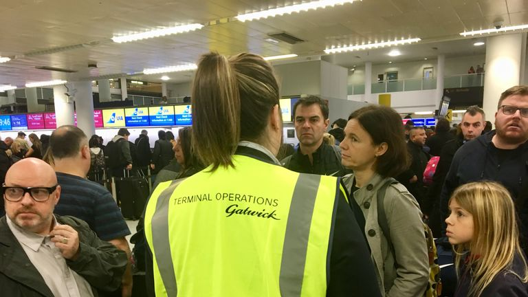 Passengers did not appear happy with being told they would have to wait longer