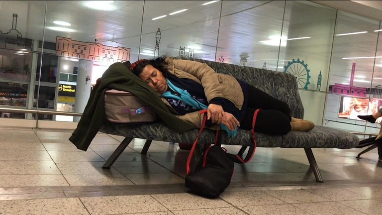 Passengers have been forced to wait all night for their flights