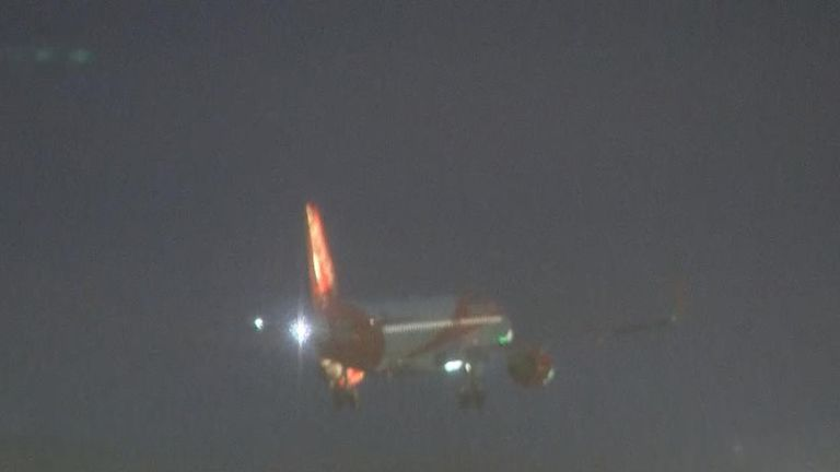 Plane lands at Gatwick Airport in limited resuming of service