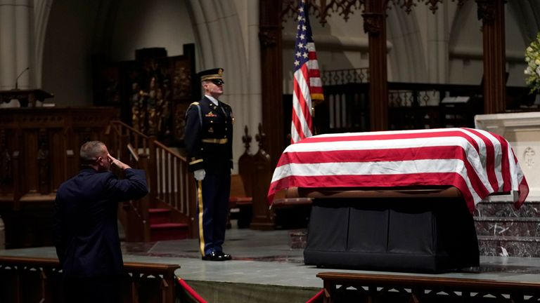 President George HW Bush's body is lying in repose at St Martin's Episcopal Church in Houston