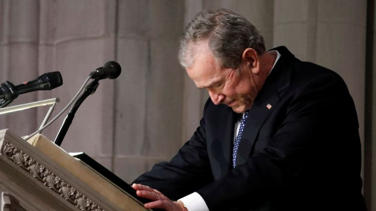 George W Bush pays tribute to his late father, George HW Bush