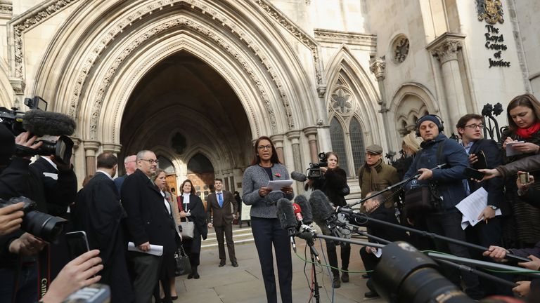 Gina Miller, who led the case for parliamentary approval of the Brexit process, speaks outside the High Court
