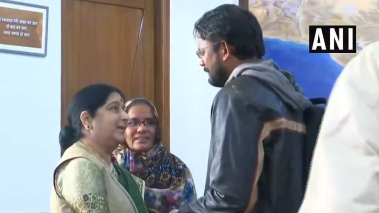 India's external affairs minister greets Mr Ansari
