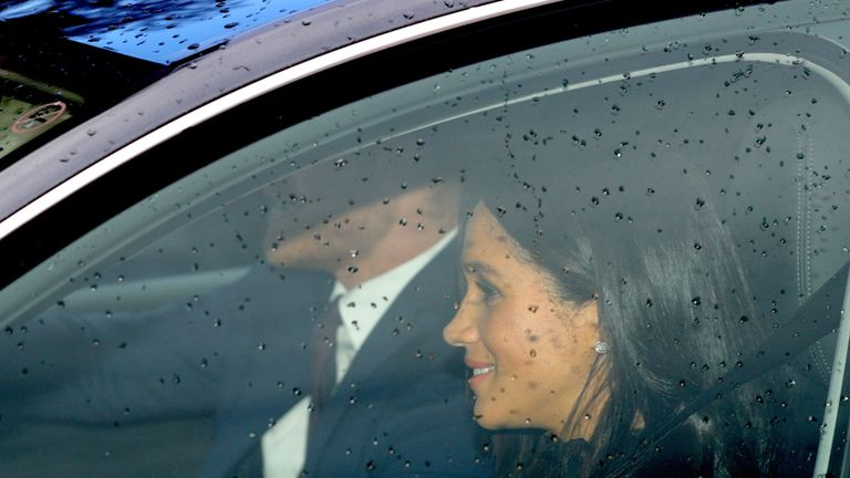 The Duke and Duchess of Sussex arriving for the Queen's Christmas lunch at Buckingham Palace