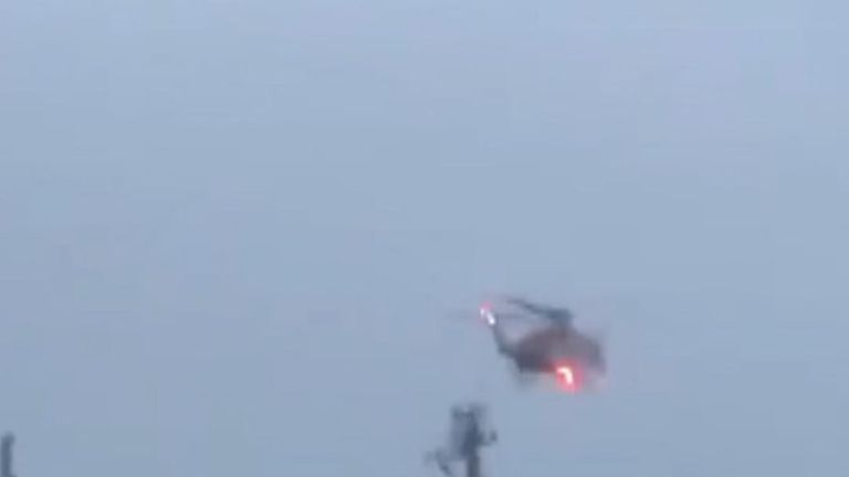 Rescue helicopter descends on Russian cargo ship in Falmouth