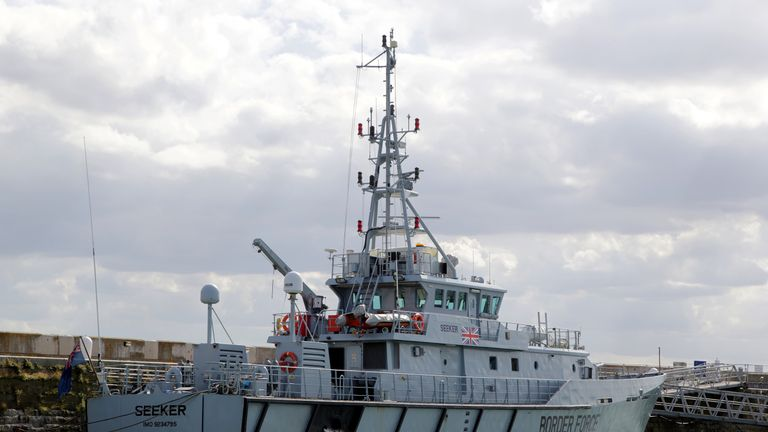 HMC Seeker, a UK Border Force patrol boat, moored in Ramsgate Harbour, Kent.
