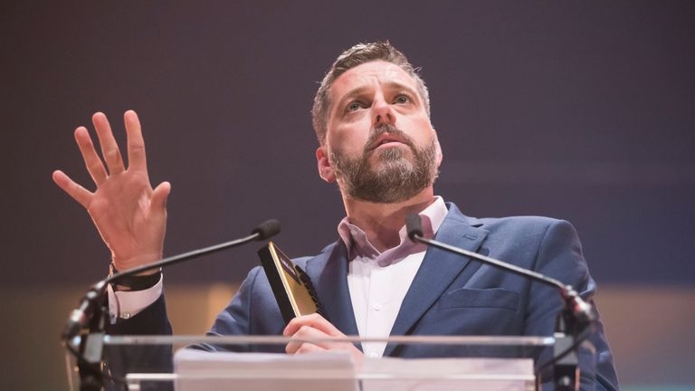 Iain Lee collects his award for Best Speech Presenter - Non Breakfast. at the Audio and Radio Industry Awards at the First Direct Arena in Leeds