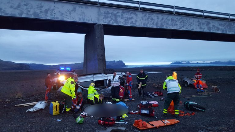 Emergency services at the scene. Pic: Adolf Ingi Erlingsson