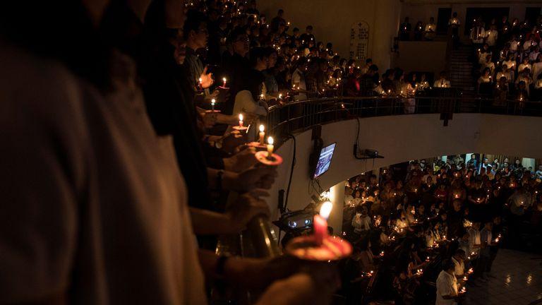 Christians attend a mass on Christmas Eve at GKI Maulana Yusuf Church in Bandung, West Java province, Indonesia, December 24, 2018 in this photo taken by Antara Foto. Antara Foto/M Agung Rajasa