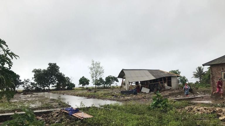 The coastal village of Tiluk has been decimated
