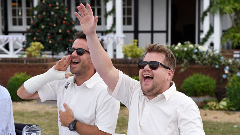 English international cricketer James Michael struck out against comedian James Corden.