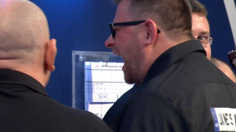 James Wade shouted at the darts board after the match. Pic: Sky Sports