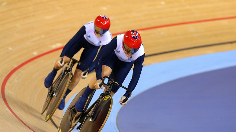 Varnish (front) Victoria Pendleton compete during the 2012 Olympics