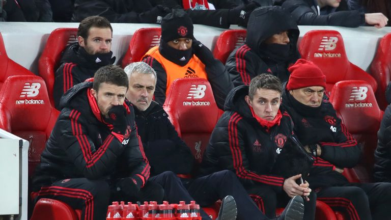 Mourinho cut a downcast figure on Sunday, sitting next to Michael Carrick