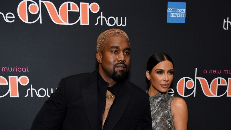 Kanye West and wife Kim Kardashian West at the opening of The Cher Show on Broadway