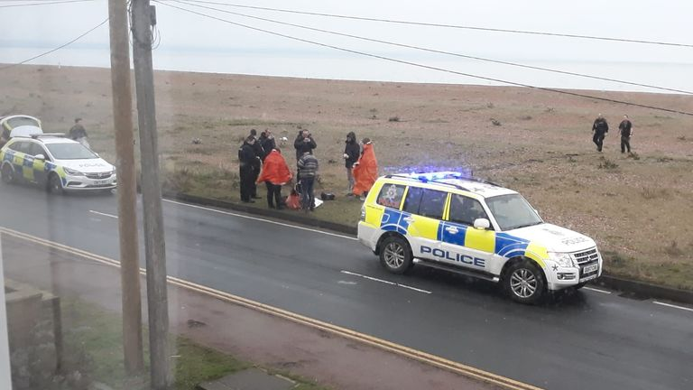 Police attended to the suspected migrants in Kent on Monday morning