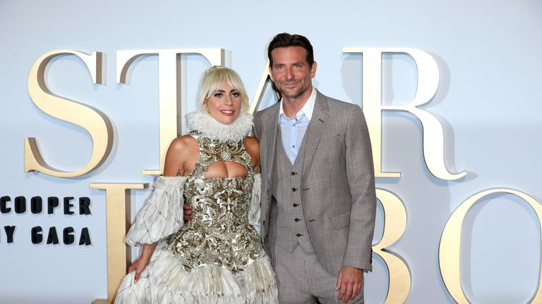 Lady Gaga and Bradley Cooper attend the UK premiere of 'A Star Is Born' held at Vue West End on September 27, 2018 in London, England