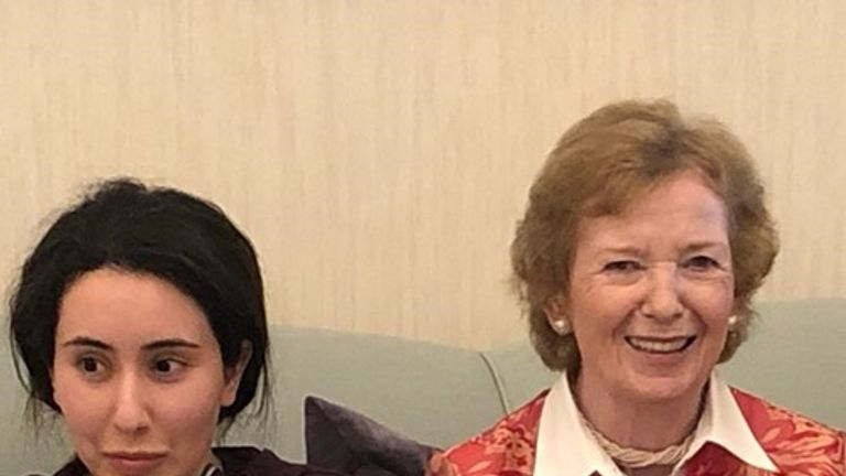 Sheikah Latifa pictured with Mary Robinson. Pic: UAE Ministry of Foreign Affairs and International Cooperation