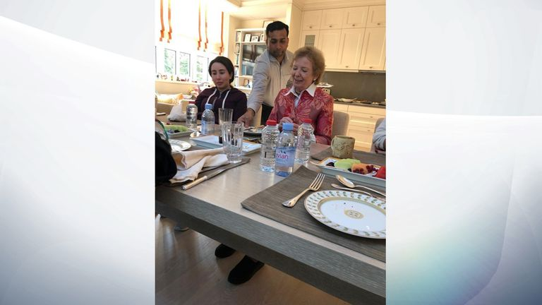 Latifa, left, pictures at a meal. Pic: UAE Ministry of Foreign Affairs and International Cooperation