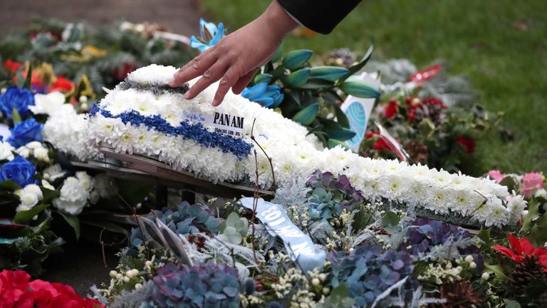 Floral tributes during the commemoration service in the Memorial Garden at Dryfesdale Cemetery to mark the 30th anniversary of the bombing of Pan Am flight 103 in Lockerbie, Scotland on December 21