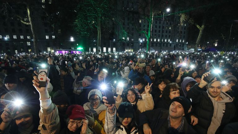 Thousands have gathered in central London to watch the fireworks display