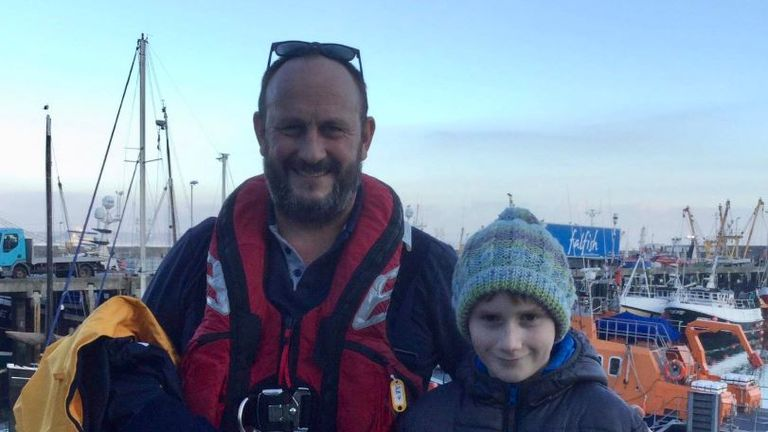 Louis with rescuer Jason Ward