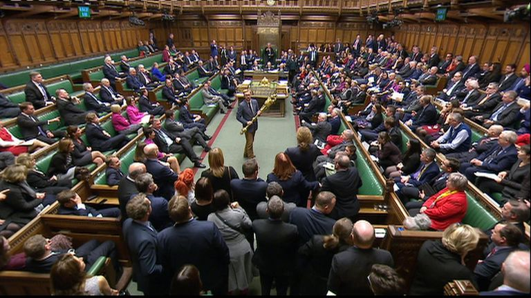 "There are cries of ""disgusting"" as  Labour MP Lloyd Russell-Moyle grabs the mace from the Commons chamber."