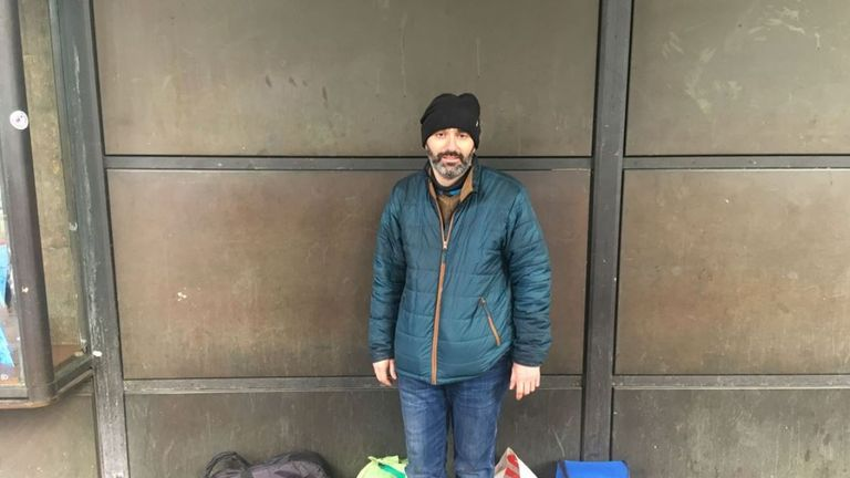 Marco Lisi, a rough sleeper who spoke to Sky News about the death of a man named by friends as Gyula Remes