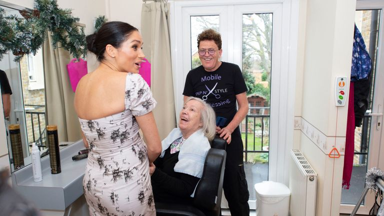 Meghan looked in her comfort zone as she met Biddy de Nordwall and hairdresser Michael Anthony Shelton