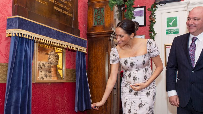 Meghan was all smiles at Brinsworth House