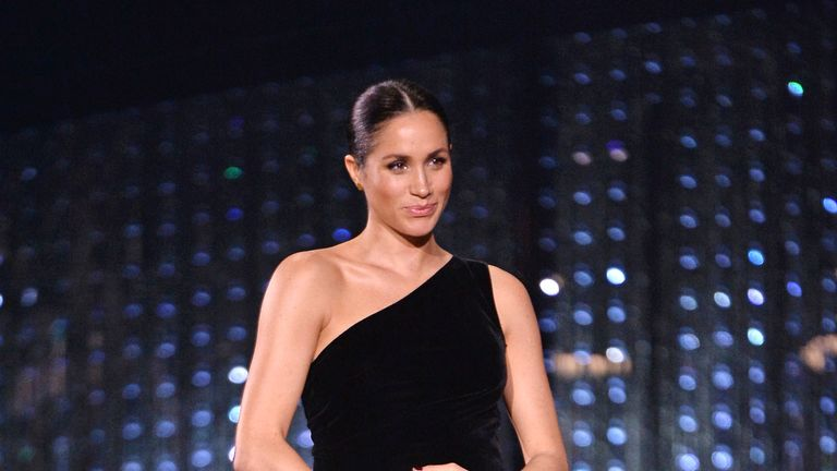 Meghan, Duchess of Sussex on stage during The Fashion Awards 2018  at the Royal Albert Hall